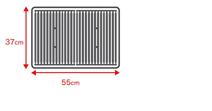 モナーク320の焼き網サイズは、横55cm縦37cmです。